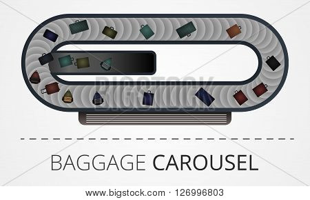 The modern baggage carousel construction. Illustration includes people and baggage elements