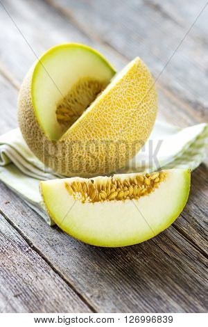 Fresh Melon On Wooden Background