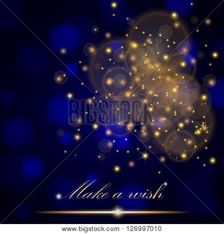 Vector Golden Lights Concept Abstract On Blue Ambient Blurred Background. Luxury Design. Vector Illu