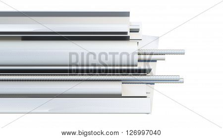 Metal products on white background. Top view. 3d render