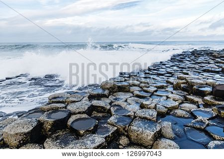 Basalt columns of Giants Causeway in Ireland