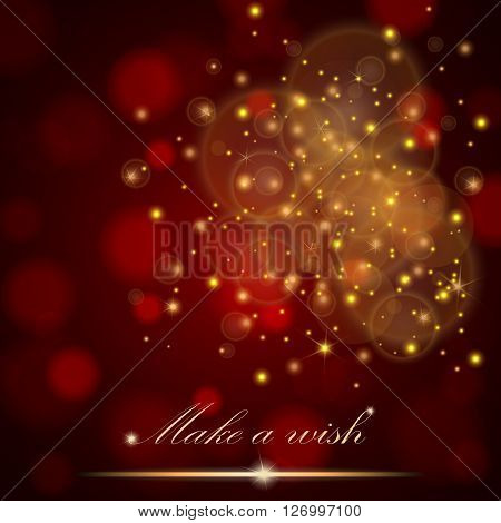 Vector Golden Lights Concept Abstract On Red Ambient Blurred Background. Luxury Design. Vector Illus