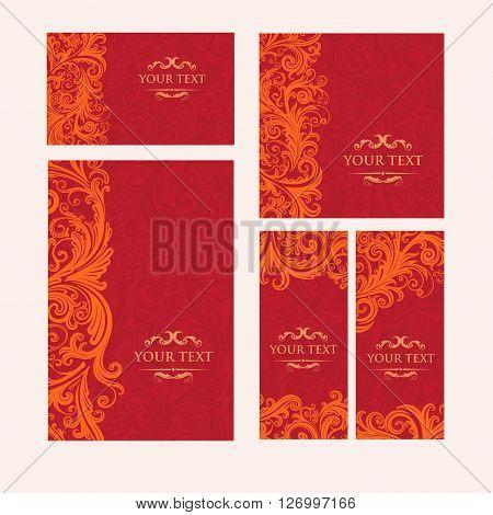 Premium royal vintage victorian set of templates red floral classic background vector elegant design for restaurant menu, book cover, invitation, flyers, brochure, wall paper, backdrops