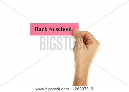 Hand holding a business card on a white background, back to school