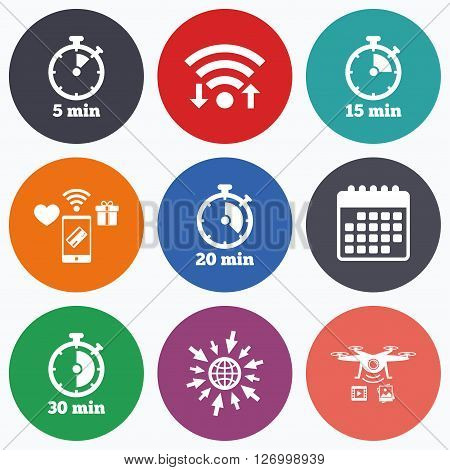 Wifi, mobile payments and drones icons. Timer icons. 5, 15, 20 and 30 minutes stopwatch symbols. Calendar symbol.