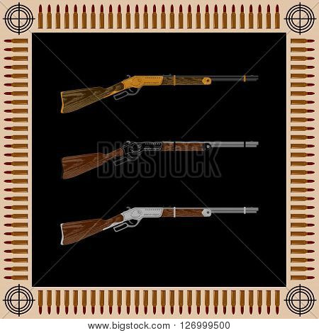 three rifles engraved with an eagle. on the edge of the target and are bullets