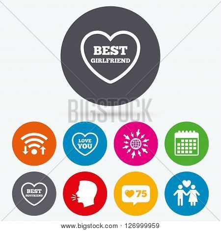 Wifi, like counter and calendar icons. Valentine day love icons. Best girlfriend and boyfriend symbol. Couple lovers sign. Human talk, go to web.