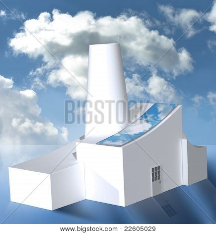 Factory With Solar Panels In Cloudy Weather