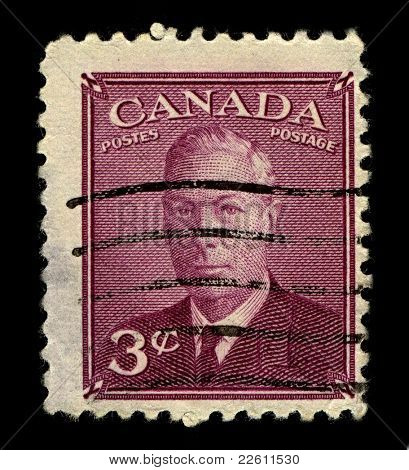 CANADA-CIRCA 1950:A stamp printed in CANADA shows image of George VI  was King of the United Kingdom and the Dominions of the British Commonwealth from 11 December 1936 until his death, circa 1950.