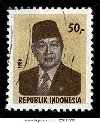 INDONESIA-CIRCA 1988:A stamp printed in INDONESIA shows image of Suharto was the second President of Indonesia,  circa 1988.