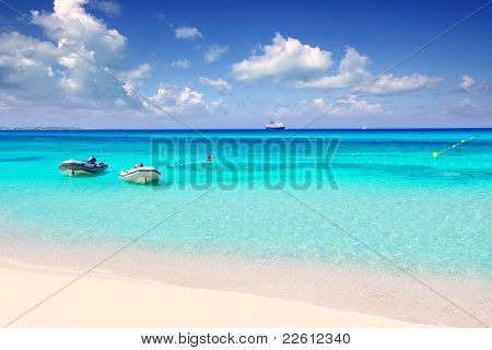 Illetas illetes tropical beach in Mediterranean with turquoise color a real paradise Formentera island