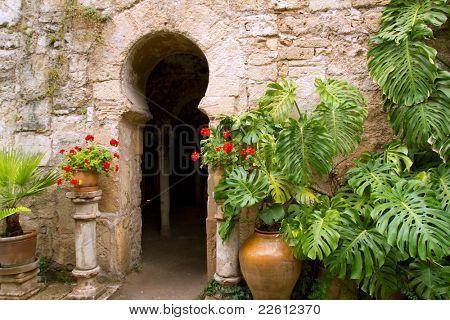Arab baths in Majorca old city of Barrio Calatrava Los Patios at Palma de Mallorca