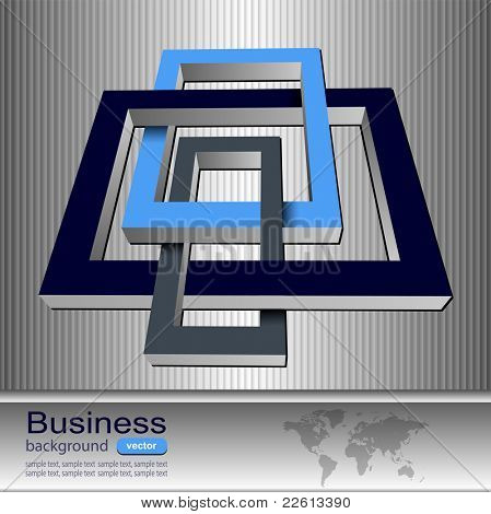 Business background with tangle, impossible rectangles, vector