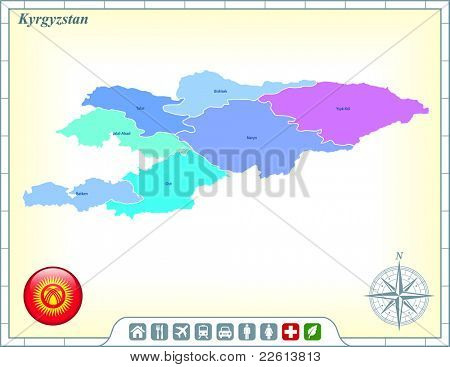 Kyrgyzstan Map with Flag Buttons and Assistance & Activates Icons Original Illustration