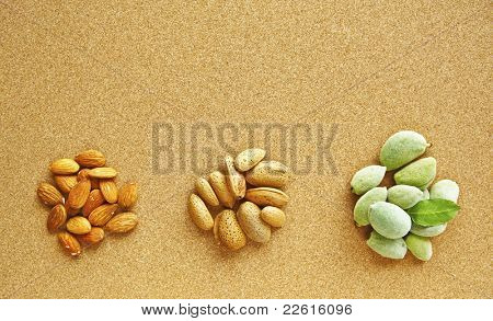 Three heaps of almonds at various stages: shelled almonds, green almonds, in hsell  on natural corck background.