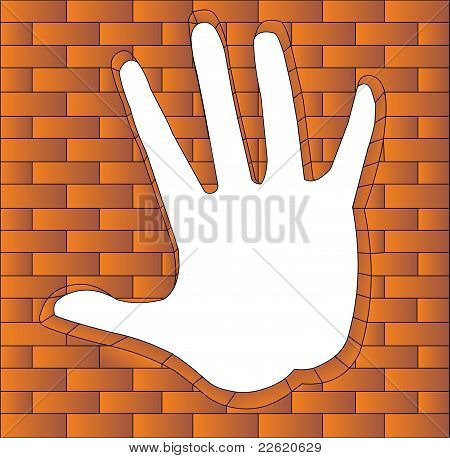 Hand Has Bent In Brick