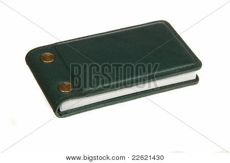 Green Leather Business Card Holder Isolated On White