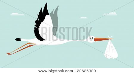 Stork Delivering Baby - It's A Boy