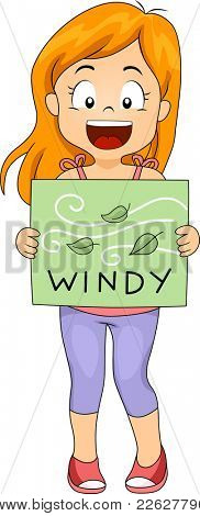 Illustration of a Girl Holding a Flashcard