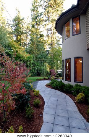 Walkway In The Backyard Of An American House