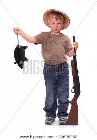 The little boy dressed on a safari suit with rifle holding big rat.