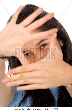 Casual Girl Doing A Handframe