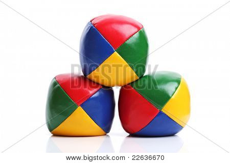Colorful juggle balls isolated on white background