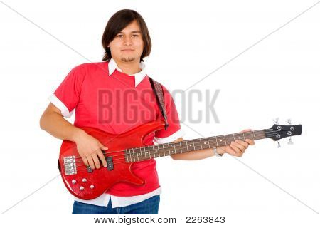 Male Guitarist In A Band