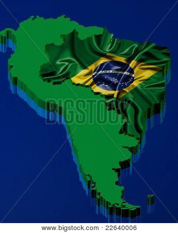 Brazilian map with brazilian flag