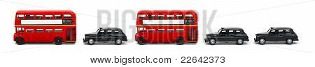 Funny Buses And Taxies In A Row
