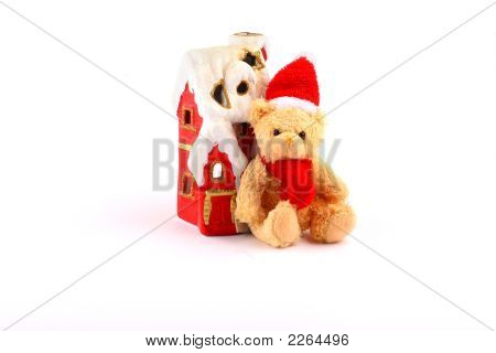 Santa Teddy Bear And Red House