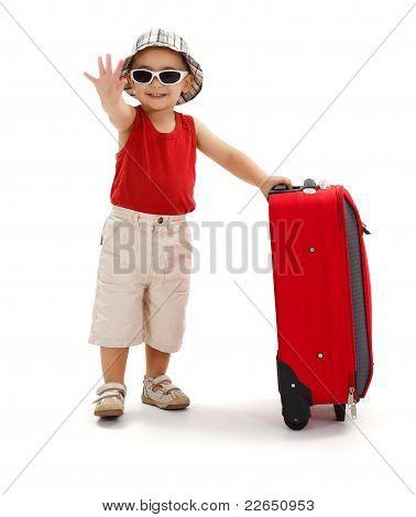 Kind In Sonnenbrille, winkte mit der Hand