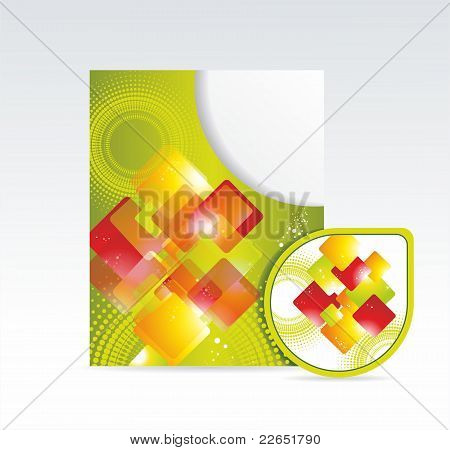 Vector bright folder and sticker