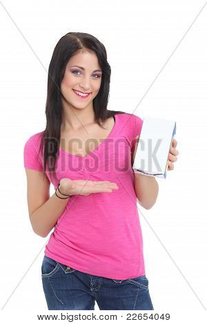 Young brunette showing a product