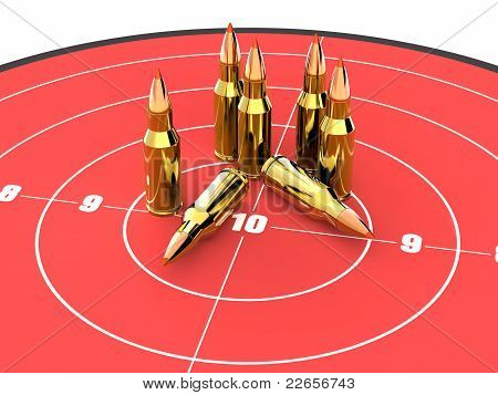 Bullets on the top of red target, ammo, ammunition