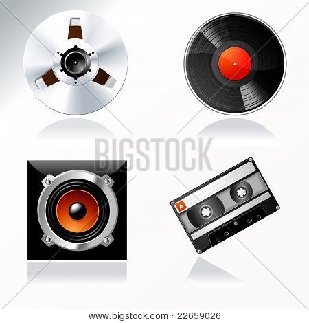 Sound Mastering Objects Vector Icon Set