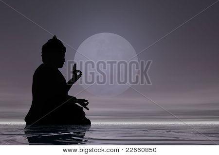 midnight meditation buddha background