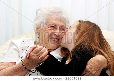 kissing Great Grandma