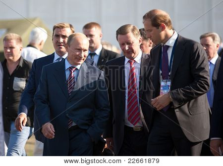 MOSCOW, RUSSIA - AUGUST 17: Vladimir Putin, Russian Prime Minister  at the International Aviation and Space salon MAKS. August,17, 2011 at Zhukovsky, Russia