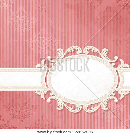 Antique pink wedding label