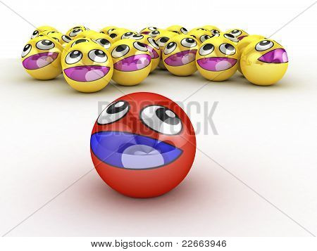 3D Round Smiley Faces.