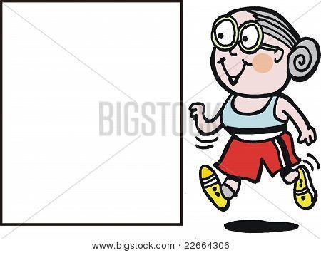 Vector cartoon of happy granny jogging
