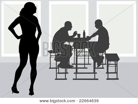 drawing people to table in cafe