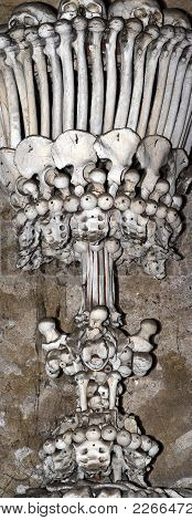 Sedlec Ossuary - Charnel-house - Column From Human Bones And Skulls