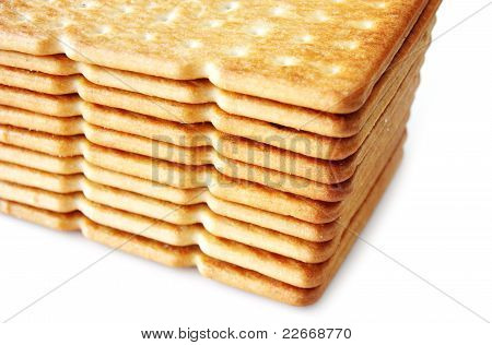 salty cracker isolated on white