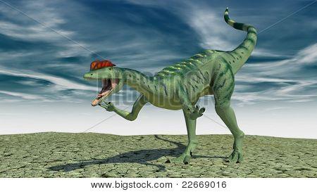 dilophosaurus in desert