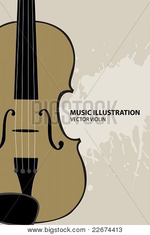 Vector illustration of violin on light bakcground