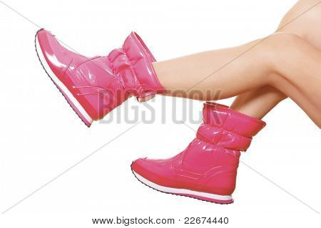 Pink wellies on the female legs