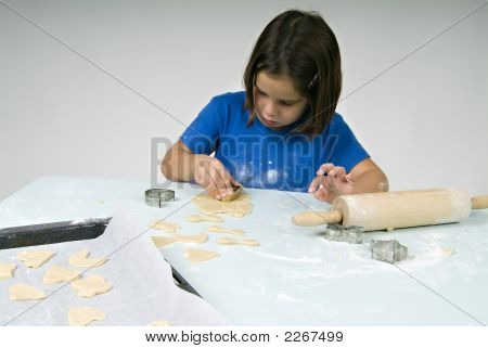 Little Girl Making Cookies