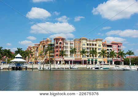 Colorful Tropical Buildings Overlooking Water